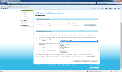 Windows Azure - Affinity Selection