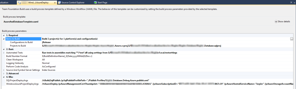 Windows Azure and SQL Azure Build Definition