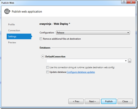 Deployment via Web Deploy - Settings
