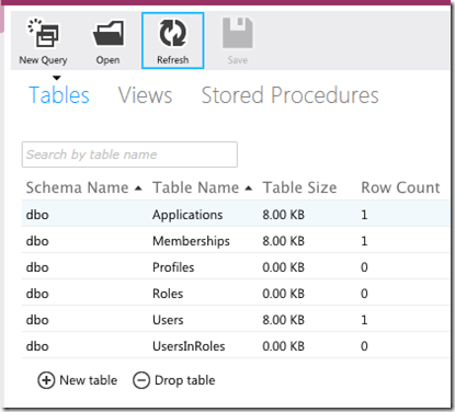 initial database tables
