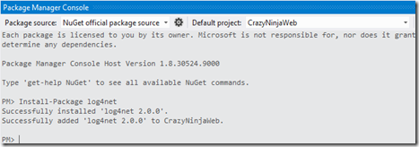Install log4net via nuget