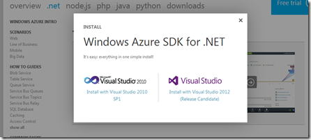 Windows Azure SDK Install - Select IDE