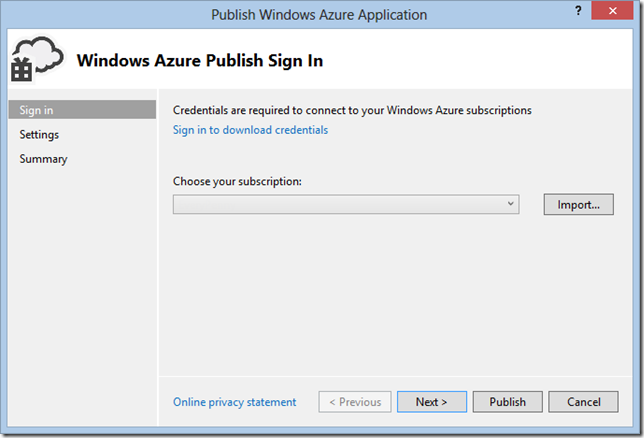 WindowsAzurePublishImportWizard
