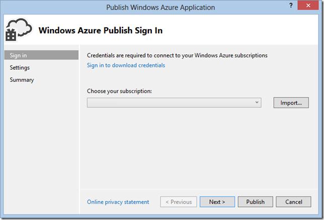 WindowsAzurePublishImportWizard