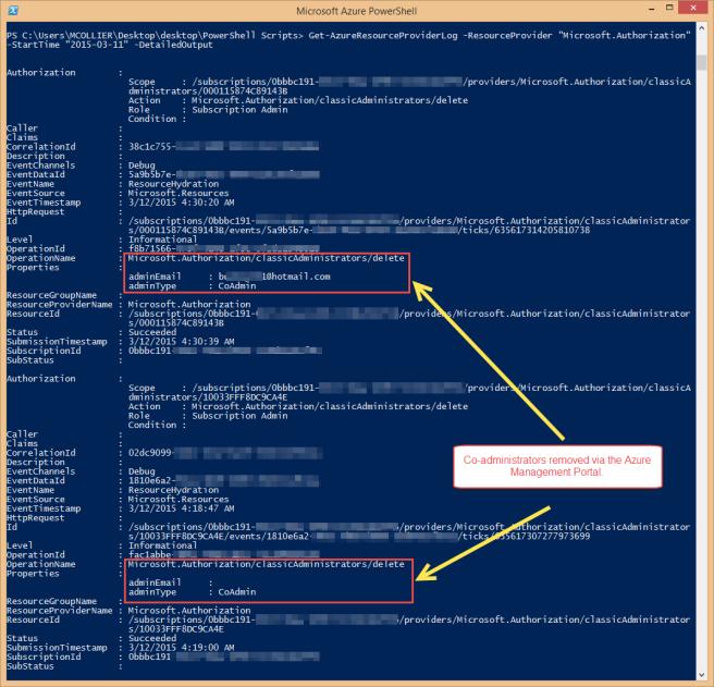 Get-AzureResourceProviderLog - Remove CoAdmins