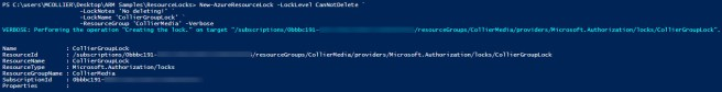 powershell - lock resource group (masked)